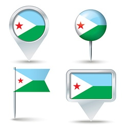 Map pins with flag of Djibouti vector