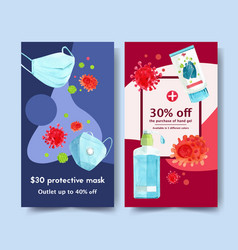 medical ig stories ad design with mask alcohol vector image
