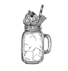 Milkshake ink sketch vector