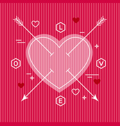 minimalist flat valentine heart design vector image