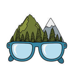 mountains landscape with eyeglasses vector image