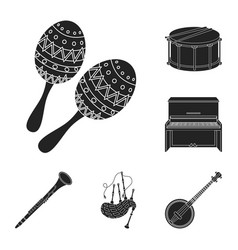 Musical instrument black icons in set collection vector