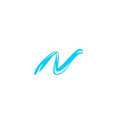 n letter wave logo vector image