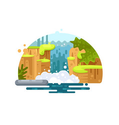 Natural river waterfall vector