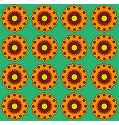 Orange flowers on green backdrop Colorful vector