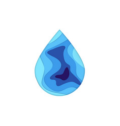 Papercut water drop vector