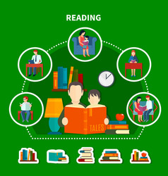 people reading literature composition vector image