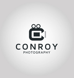 Photographer silhouette logo with letter c vector
