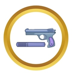 Pistol and silencer icon vector