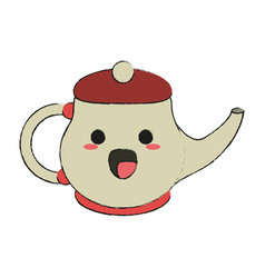 porcelain tea jug kawaii cartoon vector image