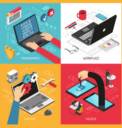 programmer concept 4 isometric compositions vector image