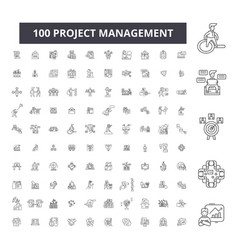 project management editable line icons 100 vector image