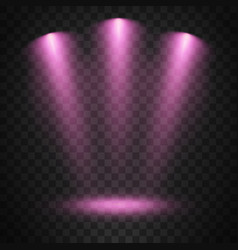 purple spotlights on transparent background vector image