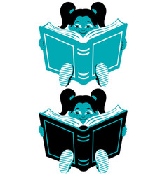 reading girl 2 vector image