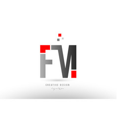 Red grey alphabet letter fm f m logo combination vector