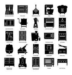 restaurant kitchen equipment silhouette icon set vector image
