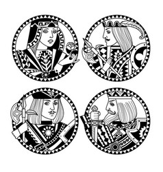 Round shapes with faces of playing cards vector