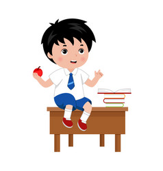 Schoolboy sitting on the the desk in school class vector