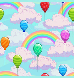 seamless pattern with cartoon rainbows on the vector image