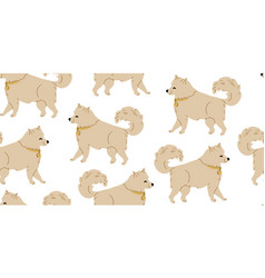 Seamless pattern with cute samoyed dog vector