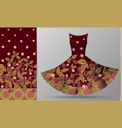 Seamless vertical raspberries design with ornate vector