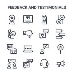 Set 16 feedback and testimonials concept line vector