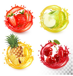 set fruit juice splash strawberry pineapple vector image