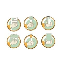 Set hands - clients purchasing work in vector