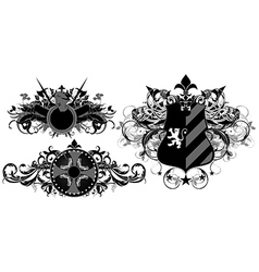 set of ornamental heraldic shields vector image vector image