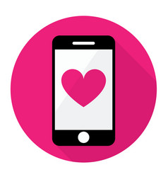 smart phone and heart icon vector image