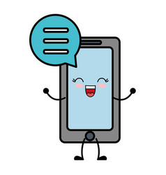 Smartphone with speech bubble icon vector