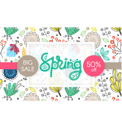 spring sale floral pattern hand drawn creative vector image