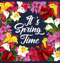 Springtime poster with spring season flower frame vector
