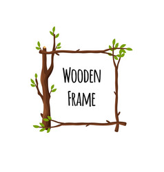 square wooden frame branches with green leaves vector image