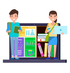 students stand on laptop with education materials vector image
