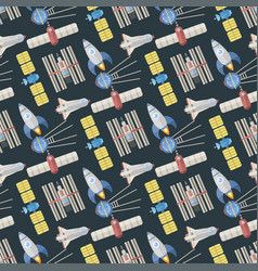 Stylish space ship seamless pattern background vector
