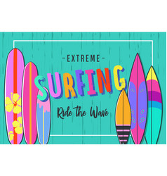 surfing poster set of surfboards 3 vector image