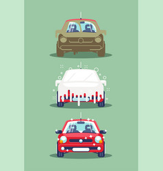 three stages car washing vector image