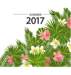 Trendy summer card banner poster with tropical vector