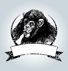 Vintage label with chimpanzee vector