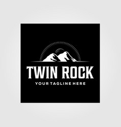 vintage twin rock mountain and sunburst logo in vector image