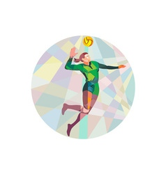 Volleyball Player Spiking Ball Jumping Low Polygon vector image