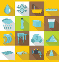 Water icons set flat style vector