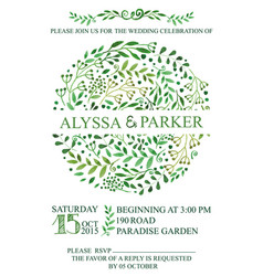 Wedding invitationwatercolor green brunches vector