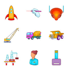Working method icons set cartoon style vector