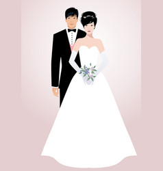 young oriental couple of newlyweds wearing vector image