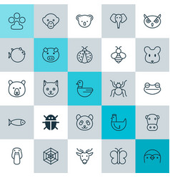 zoology icons set collection of fish beetle vector image