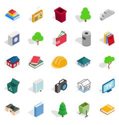 subdual icons set isometric style vector image