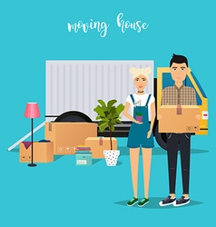 Young Couple Moving Moving truck and cardboard vector image vector image