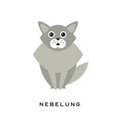 beauty nebelung cat pet with big shiny eyes long vector image vector image